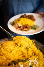 Fragrant yellow basmati rice.