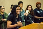 A member of the HSU Black Student Union introduced the group to the attendees at the event.
