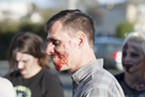 It was Shawn O'Connor's first time going the undead in the Zombie Walk.