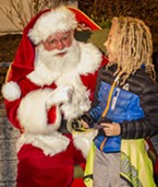 Julian Gillespie, of Arcata, enjoyed his chance to meet with Santa.