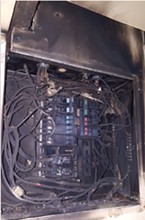 A fusebox that caught on fire at 1625 G Street.