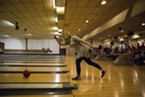 Kitt Roberts, a student at College of the Redwoods, bowling at the LeBOWLski bowling night.
