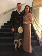 Film commissioner Cassandra Hesseltine in mauve lace, and her husband Jeff, who went full kilt.