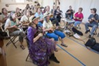 Robert Franklin (right) and Deanna Sanders from the Humboldt Ukulele Group led beginning and intermediate ukulele workshops during Saturday's All Day Free Fest at the Humboldt Folklife Society's Folklife Festival in Blue Lake.