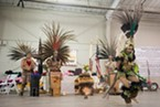 The Aztec Dancers in their dramatic regalia.