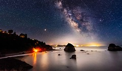 Beach Bonfire, Meteors and the Milky Way