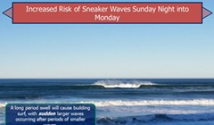 Increased Risk of Sneaker Waves Sunday night to Monday