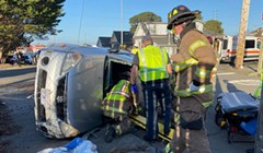 Driver Needed Extrication After Rollover Crash on Broadway in Eureka
