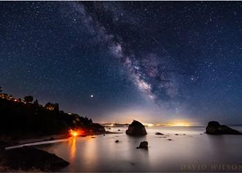 North Coast Night Lights: Beach Bonfire, Meteor and Milky Way