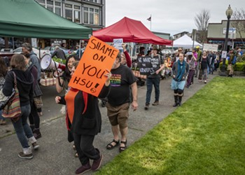 KHSU Protesters at the Arcata Farmers Market