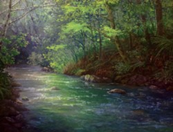 """SPRING RIVER"" BY LISA LANDIS AT TRINIDAD ART GALLERY."