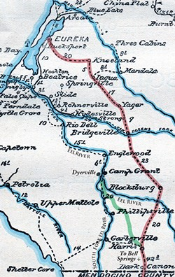"MAP BY LILLIE E. HAMM, PUBLIC DOMAIN, WITH MODIFICATIONS BY MILES EGGLESTON/NORTH COAST JOURNAL - An 1890 map of southwest Humboldt County showing the original 1877 ""Overland Route"" wagon road south in red. The green line is the more direct 1893 ""Mail Ridge Route"" (now Dyerville Loop Road) from the confluence of the main and south forks of the Eel (Dyerville) to New Harris. The 1918 Redwood Highway (and later U.S. Highway 101) follow the South Fork."
