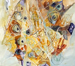 """SUBMITTED - """"Wormholes and Other Footprints,"""" painting by Rob Hampson at Plaza."""
