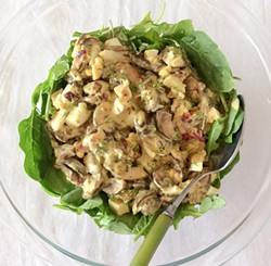 PHOTO BY SIMONA CARINI - A mushroom and egg salad inspired by readings on Russia.