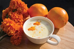 PHOTO BY HÉCTOR ALEJANDRO ARZATE - Atole with orange zest and marigold petals.