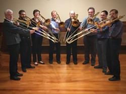 Members of a local trombone octet perform works of Randall Thompson and others. Photo by Dick LaForge.