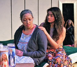 SUBMITTED - Savannah Baez, Irma Gill and Andrea Carillo in Adoration of the Old Woman at HSU.