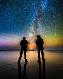DAVID WILSON - What passes between friends watching a crescent moon set into the Pacific at the bottom of the Milky Way? Nov. 11, 2018 on Moonstone Beach. - How to get there: Take U.S. Highway 101 North toward Trinidad. Take exit 726A toward Westhaven Drive. Turn left onto Sea Drift Lane toward Moonstone Beach, then turn left onto Scenic Dr., then turn right onto Moonstone Beach Road.