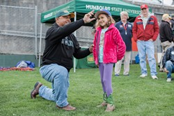 PHOTO BY LEÓN VILLAGÓMEZ - HSU President Tom Jackson Jr. capped his first day on the job with a trip to the Arcata Ball Park, where he watched the Humboldt Crabs beat the California Expos.