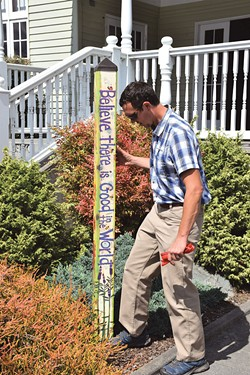 THAD GREENSON - Fortuna Parks and Recreation Director Cameron Mull checks out the city's new pole.