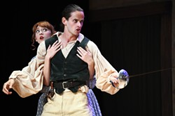 PHOTO BY KRISTI PATTERSON - Marguerite Hockaday as Constance and Melo Rhae as Milady in The Three Musketeers.
