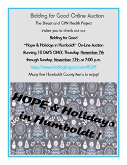BGHP Hope & Holidays in Humboldt On-Line Auction Flyer - Uploaded by BreastHealthProject