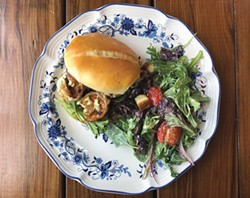 PHOTO BY JENNIFER FUMIKO CAHILL - Blackened shrimp on homemade bread at Fat Anne's.