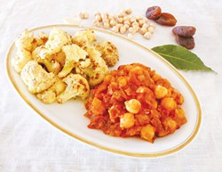 PHOTO BY SIMONA CARINI - A recipe from another hemisphere: Chickpeas with tomatoes and dried apricots, with a side of cauliflower.