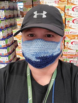 SUBMITTED - A selfie Rachael Trump took while shopping for Instacart customers at Costco in a mask her daughter made.