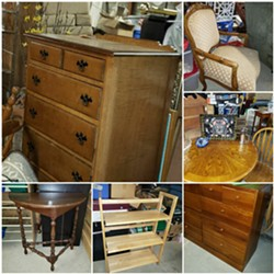 Dressers, Recliners, Chairs, Various Types of Tables,  Assortment of Shelving, Beautiful Queen Wood Bed frame, and much, much more….. All Priced to Sell !!! - Uploaded by dyann