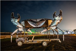 PHOTO BY DAVID WILSON - No, you won't see this beast in the Kinetic Sculpture Race, for the crab, while kinetic in its many movements, depends on the old Ford for locomotion. And it would sink. Dec. 2, 2020, Humboldt County, California.