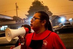 PHOTO BY KRIS NAGEL - Lydia West asks for a task force dedicated to solving the cases of murdered and missing Indigenous women during a Sept. 9 protest at the Humboldt County Courthouse.