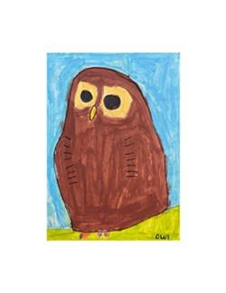 THERESA FISHER, Owl, acrylic on mat board