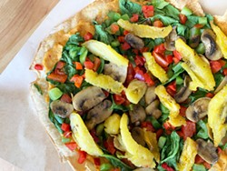 PHOTO BY JENNIFER FUMIKO CAHILL - The vegetarian flatbread from the revamped Grind Café.