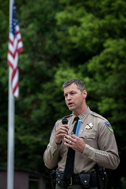 PHOTO BY MARK LARSON - Sheriff William Honsal, who's department has been hardest hit locally by the staffing crisis, is lobbying the Humboldt County Board of Supervisors to increase the salary schedule for his deputies, saying he thinks it's key to attracting and retaining quality officers.