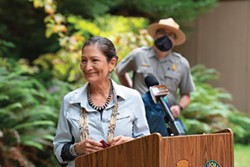 PHOTO BY MARK MCKENNA - US Secretary of the Interior Deb Haaland was moved to tears as she spoke to the crowd at a press conference about the Redwoods Rising program in Redwood National and State Parks in Yurok country.