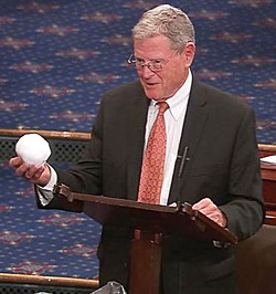 "WASHINGTON POST - Jim Inhofe (R-Okla.), Chairman of the Environment and Public Works Committee in the Senate last February, ""proving"" global warming is a hoax."