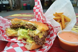 PHOTO BY GRANT SCOTT-GOFORTH - No frills at No Brand burger stand, y'all.