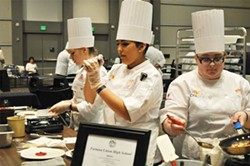 COURTESY OF FORTUNA HIGH SCHOOL - Emily Diehl, Rosa Maldonado and Aleisha Ewing go Iron Chef at the 2014 Teen Chef Competition.