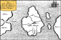 WIKIMEDIA COMMONS - Lost? The island of Atlantis lay between Africa and the Americas, according to Athanasius Kircher's map of 1669. South at top.
