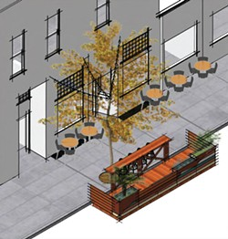 COURTESY OF THE CITY OF EUREKA. - A rendering of a proposed parklet for A Taste of bim. the restaurant and city are finalizing designs.