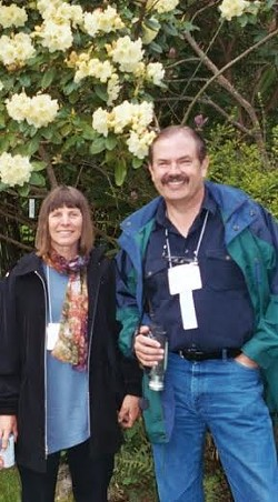 JUNE WALSH - Elaine Sedlack, left, and Tim Walsh, chapter member and Area Director, taken at the UC Botanical Garden.