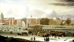 (FAITHFUL PHOTOGRAPHIC REPRODUCTION OF A TWO-DIMENSIONAL, PUBLIC DOMAIN WORK OF ART. ORIGINAL IN THE MUSEUM OF LONDON.) - The Frozen Thames 1677 by Abraham Hondius.