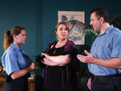 COURTESY OF NORTH COAST REPERTORY THEATRE. - Alyssa Navarrate, Caroline McFarland and James Wright in Rumors.