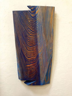 "PHOTO COURTESY OF THE ARTIST. - Benson's ""Current 2"" features trompe l'oeil woodgrain that's a study in waves."