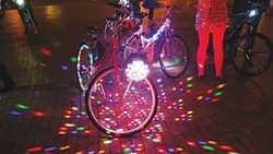 PHOTO BY CINDY ROTHERHAM - The Bike Gang prepares for a disco-fabulous tour.