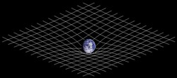 "CREATIVE COMMONS/      JOHNSTONE + NASA. - In general relativity, Earth's mass can be thought to distort spacetime. In its orbit around Earth, our moon ""thinks"" it is in free-fall; the distortion is only apparent when we see the system as a whole."