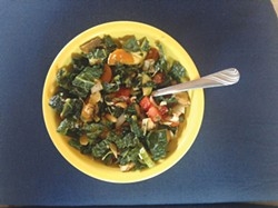 PHOTO BY LOUISA ROGERS. - Power breakfast with beans and greens.