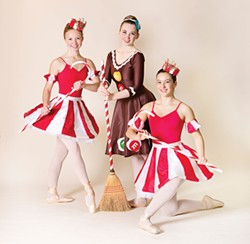 COURTESY OF TRILLIUM DANCE STUDIO - Peppermints Ada Bavin and Sofia Elizarraras with Gingersnap Roshelle Howard in 'Twas the Night Before Christmas.