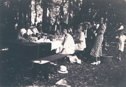 PHOTO COURTESY OF THE MATTOLE VALLEY HISTORICAL SOCIETY. - Locals gather for a 1936 harvest festival at the Mattole Grange.
